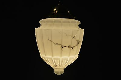 CZECH ANTIQE  1920's Pendant LIGHT Fixture Marble Glass Shade