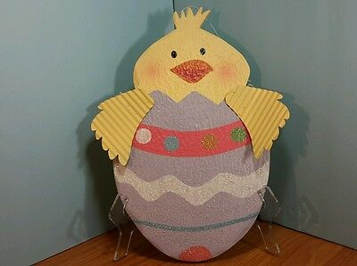 Wood Yellow Easter Spring Ducky Easter Egg Wall Hanging Plaque Nicole Crafts 14""