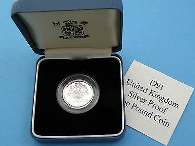 1991 Royal Mint SILVER PROOF ONE POUND £1 COIN  c/w Box & Certificate