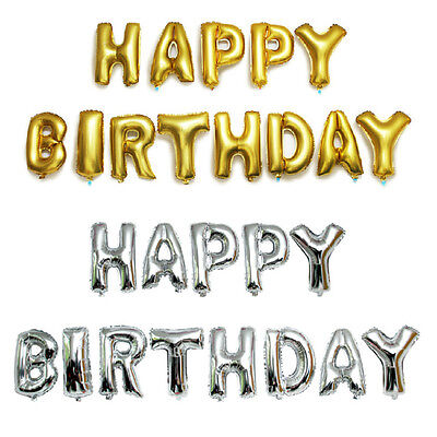 16 Inch/40 Inch Helium Happy Birthday 13 Pieces Gold Or Silver Foil Balloons