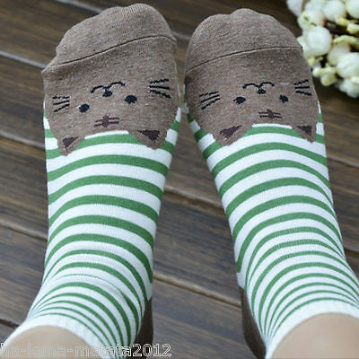 Fun GREEN Stripe CAT Cotton Ankle SOCKS One Size UK 12-4 approx New 1pr UK Sale
