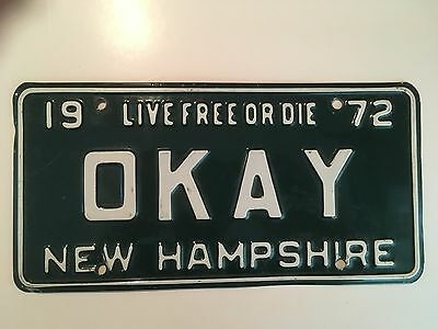 "1972 Vanity License Plate ""OKAY"" Vintage New Hampshire VG Glossy Nice!! ""OK"""