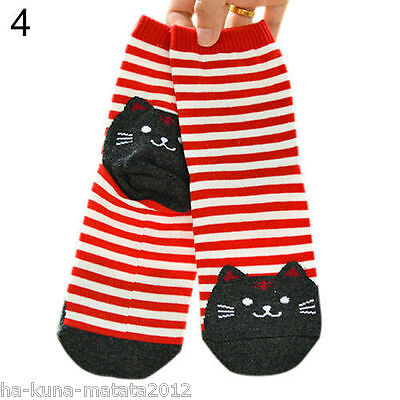 UK Sale: Fun RED Stripe CAT Cotton Ankle SOCKS One Size UK 12-4 approx New 1pr
