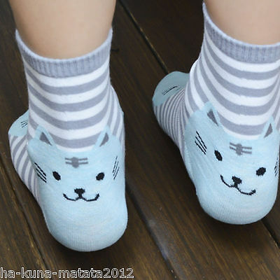 KITTY SOCKS Fun GREY Stripe CAT Cotton Ankle SOCKS One Size UK 12-4  New UK Sale