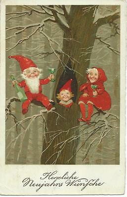 Marie Flatscher  (sign) Gnome family celebrate in tree