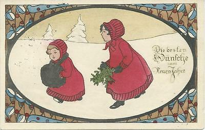 Two girls in red with xmas branches & muff. Art Deco border