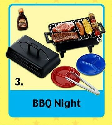 """Re-Ment """"FUN MEALS #3 - BBQ NIGHT"""" - 1:6 Barbie sized kitchen house food minis"""
