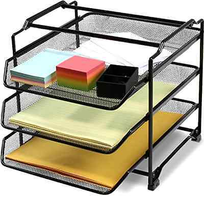 STACKABLE 3 Tier Desk Document Letter Tray Organizer, Black - NEW