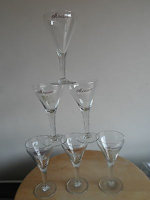 Vintage French Moussec Champagne Wine Glasses X6