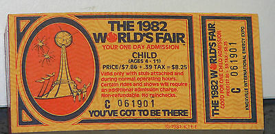 Unused Child's Ticket to the 1982 Knoxville World's Fair