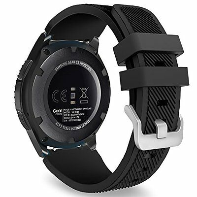 Gear S3 Classic Smart Watch Band Replacement Sport Black Samsung Silicone Strap