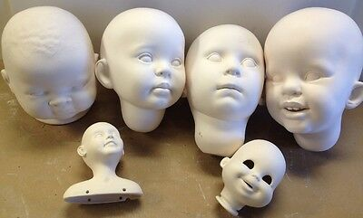 Vintage Estate Bisque Heads Ready For Crafts Lot Of 6  The Doll Artworks 1990s
