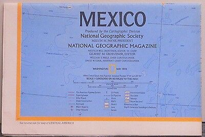 Vintage 1973 National Geographic Map of Mexico