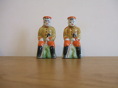 Pair of JAPANESE/CHINESE MILITARY Pottery Figurines.