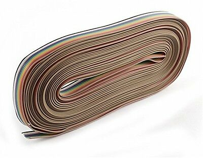 Uxcell 40Ft 10 Way 10 Pin Rainbow Color Ribbon Cable IDC Wire 1.27mm DIY