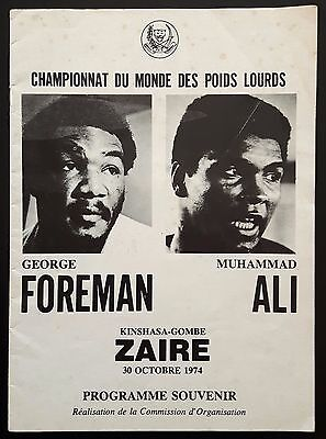 1974 MUHAMMAD ALI v GEORGE FOREMAN rare on-site boxing program Cassius Clay