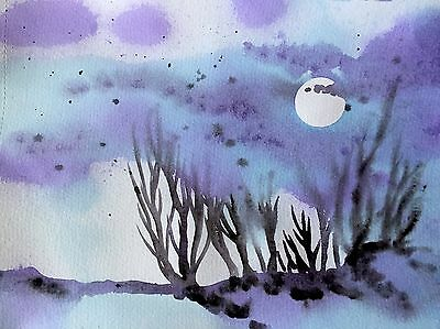 FREE POST Full Moon Forest Painting A4 Original Sienna Mayfair Artwork