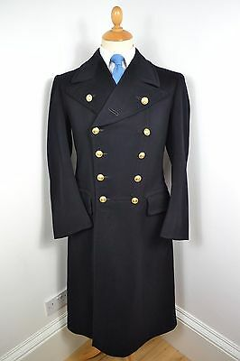 VINTAGE 1940s GIEVES SAVILE ROW WW2 BLACK OVERCOAT PEA COAT WOOL MEDIUM 40 REG