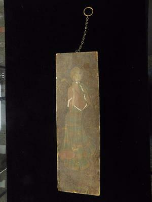 Antique Hand Carved Hand Painted Wooden Plaque. Wall Art December 25, 1902. 0643
