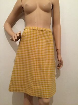 Vintage 60's yellow A-line check wool skirt Retro winter plaid skirt