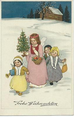 Marie Flatscher (unsign) Four Christmas angels with gifts & tree  Chromo litho