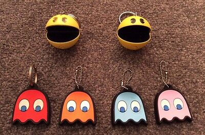 5 x Retro Keyrings Keychains Key Covers Pacman Ghosts Sounds Pac Man