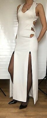Party Long Maxi Thick Ivory Dress Size S/M 10-12 UK