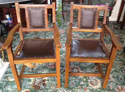 Pair of solid Elm Wood Chairs