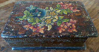 Vintage Austrian Seefeld hand carved and painted secret lock wooden box