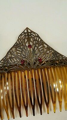 Antique Faux Tortoise Shell Hair Comb Red Rhinestones