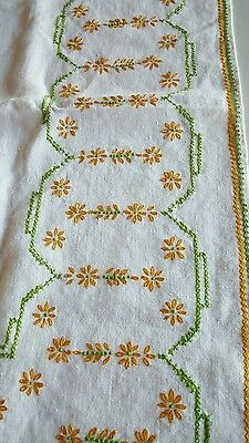 Vintage Embroidered Linen Tablecover Tablecloth 30x32