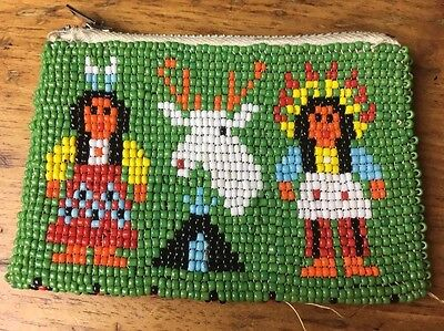 Vintage Homemade Beaded Indian Coin Purse