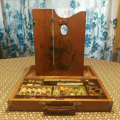 Vintage Japanese Painters Box with 16 brushes and Foldable Palate