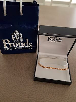 9ct Genuine Gold Rope Bracelet  FREE 9ct earrings