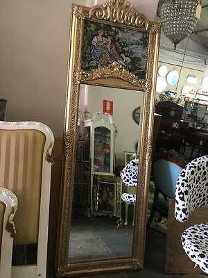 TALL ANTIQUE BAROQUE FRENCH TRUMEAU GOLD FLOOR  MIRROR .TAPESTRY TOP 210cm HIGH