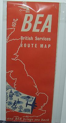 BEA Britishh Services Route Map 1950 Edition 2nd Issue