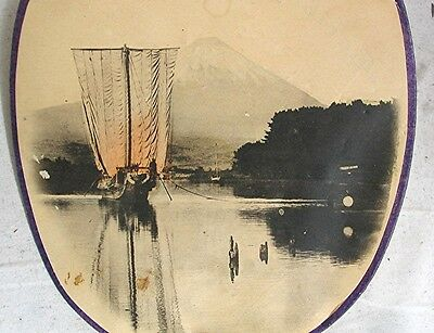Vintage Spanish Tea Room Advertising Paper Photo Fan with Japanese Scene