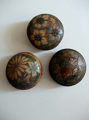 Vintage Three Wooden Decorative Boxes For Trinkets Jewellery