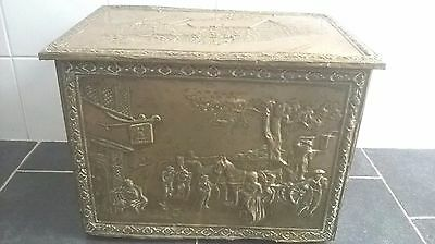 Antique English Embossed Brass Old Chest Box  Anne Hathaway Cottage!FREE Collect