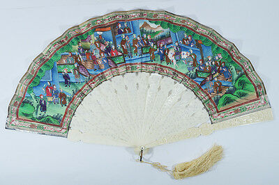 Antique Chinese Export Silver Chinese Fan