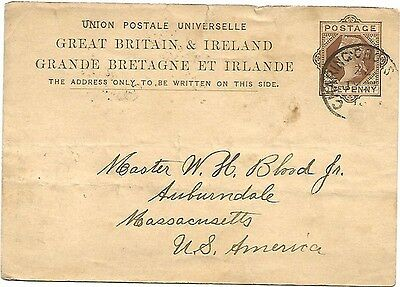 1881 Postcard From London To Auburndale Ma,usa No Reserve