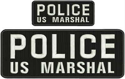 POLICE Us Marshal Embroidery Patches 4x10 and 2x5 hook white lettering