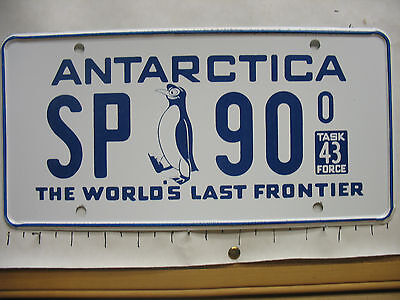 1965 Antarctica License plate Tag THE WORLD'S LAST FRONTIER