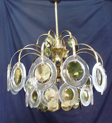 Vintage Italian Murano Glass Chandelier w 12 Lights, Murano Glass Rings Lighting