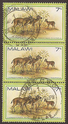 MALAWI. AFRICA. ANIMALS, SUNI. 7t STRIP OF THREE. USED.