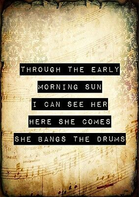 Stone Roses She Bangs The Drums MOD Poster Music Lyric A4 Quote Print Typography