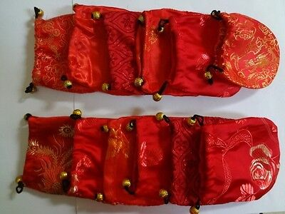 "LOT OF 5 RED Silk SATIN Brocade Jewelry Coin Pouch Gift Bags 4"" ASSORTED"