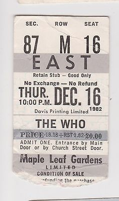"1982 ""The Who"" Concert Ticket Toronto Maple Leaf Gardens Broadcast Show Ticket"