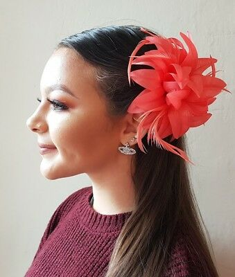 Coral Red Hair Flower Feather Fascinator Hair clip Hair Slide Wedding Prom Race