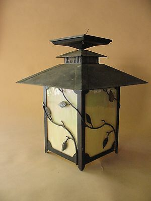 old Estate metal tea ceremony garden LANTERN arts crafts stain glass copper fine